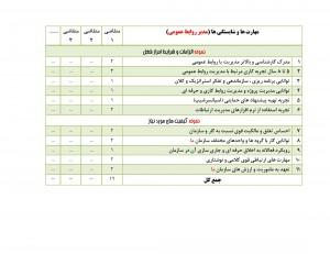 نمونه جدول ارزیابی